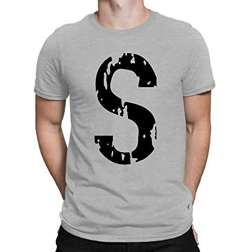 TV Series Riverdale Jughead Jones 'S' Vintage Logo T-Shirt Cotton White Gray Tee Gray S