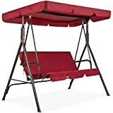 Best Choice Products 2-Person Outdoor Large Convertible Canopy Hanging Swing Glider Lounge Chair w/Adjustable Shade, Removable Cushions - Burgundy