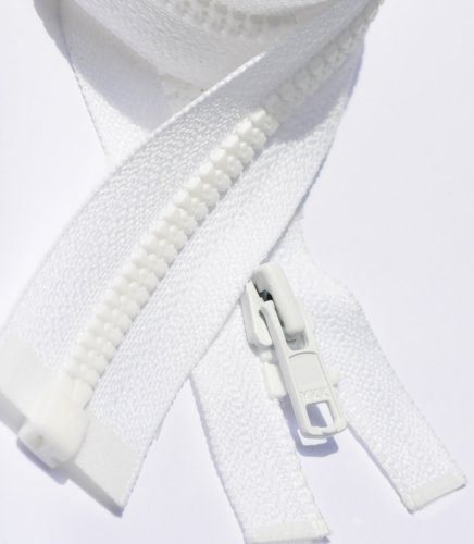 YKK 3' - 72' Vislon Zipper 3 Light Weight Molded Plastic Separating Color 501 White by Each (Select Length) (Length 6 inches)