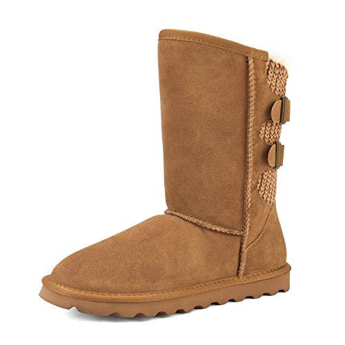 DREAM PAIRS Women's Chesnut Faux Fur Mid Calf Fashion Winter Snow Boots Size 8 M US Sweaty-Buckle