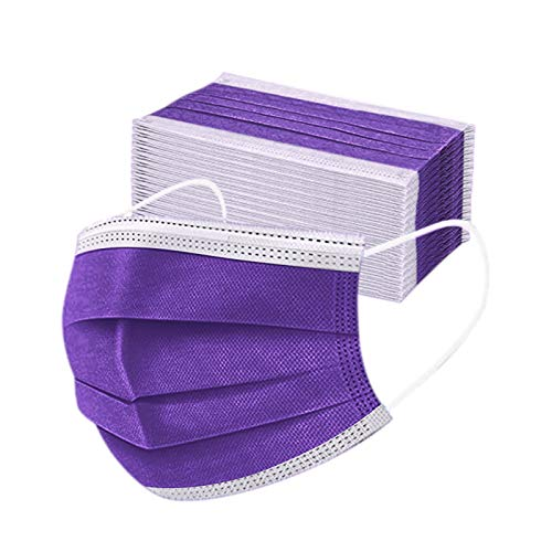 Disposable Face Mask,50 Pcs 3ply Breathable Mask With Elastic Ear Loop(Purple)