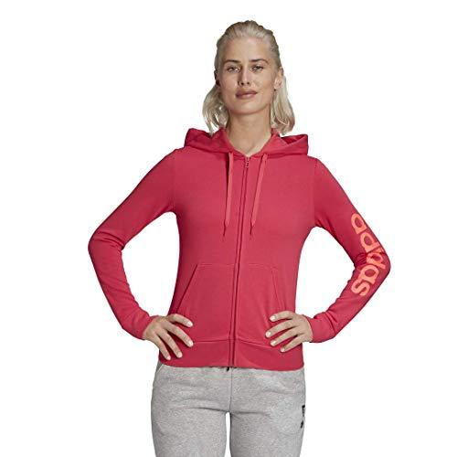 adidas Mujer Essentials Linear Chaqueta con cremallera completa, rosa potente, rosa señal, mediana