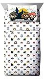 Juego de sábanas de 4 Piezas Jay Franco – Características de la Ropa de Cama Harry, Ron, Hermoine, Hagrid y Dumbledore, Color Blanco