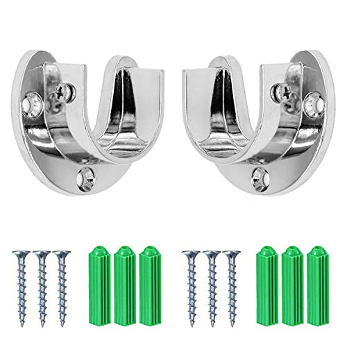 Gizhome Wardrobe Bracket Heavy Duty Stainless Steel Rod Socket Flange Rod Holder Closet Rod End Supports, 1-1/3' Diameter, Silver, U Shaped, Easy Installation and Quick Removal Support 200KG - 2pcs