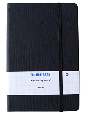 Yansanido Thick Notebook Hard Cover Lined Journal Notebook A5/ 5.7x8.3 inch Cloth Cover Classic 200 pages Notebook with 80 gsm Premium Thick Paper 100 Sheets/200 pages (Black)