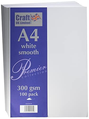 Craft UK W119 100 Fogli di cartoncino, Colore Bianco, Formato A4, 300 g/m²