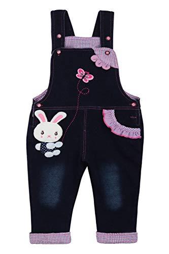 Camilife Baumwolle Denim Latzhose für Baby Kleinkind Kinder Mädchen Overall Jeans Hose mit Hosenträger - Niedliches Häschen Schmetterling Muster Größe 92/98