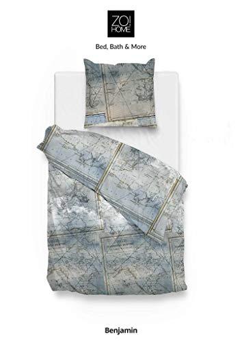 ZO! HOME Cotton Bettwäsche 135x200 cm Benjamin Blue Weltkarte Weltbild