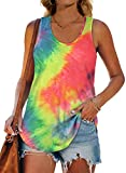 XIEERDUO Tie Dye Tank Top Women Scoop Neck Womens Summer Tank Tops Loose Fit M