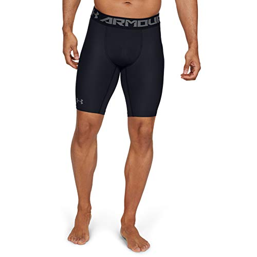 Under Armour Men's HeatGear Armour 2.0 9-inch Compression Shorts , Black (001)/Graphite , Large