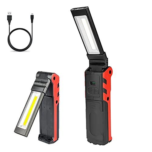 Lampada da Lavoro Super Bright USB Ricaricabile COB Lampade di Lspezione Portatile LED Torcia Pieghevole con Base Magnetica Gancio Appeso Power Bank per Domestica Riparazione Auto Emergenza Campeggio