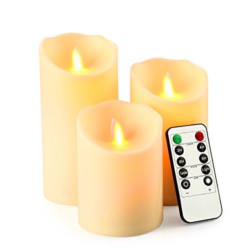 リーダーテク(lederTEK) シミュレ—ション火炎 ledキャンドル, ゆらゆら揺らぐ 電子電池ろうそく, 3個セット 電球色光 リモーコン 無煙蝋燭, 室内電飾 パーディー 結婚式 屋外 夕飯飾り