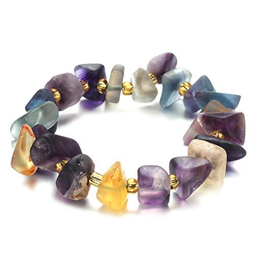 Colorido piedra natural geometría cuentas pulsera de cuentas de energía yoga pulsera de joyería para las mujeres hechos a mano regalos colorido longitud ajustable