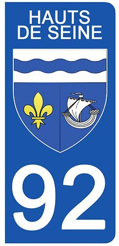 DECO-IDEES 2 Stickers pour Plaque d'immatriculation - 92 - Blason Hauts de Seine- Stickers Garanti 5 Ans