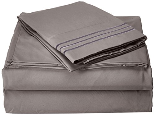 Luxurious Bed Sheets Set on Amazon! Celine Linen 1800 Thread Count Egyptian Quality Wrinkle Free 4-Piece Sheet Set with Deep Pockets 100% , Queen Grey