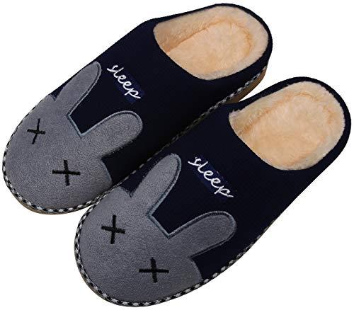 Mishansha Hausschuhe Herren Damen Winter Baumwolle Pantoffeln Indoor rutschfeste Slippers,Oxford Blau,38/39 EU