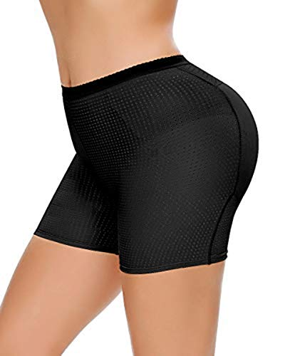 NINGMI Womens Butt Lifter Seamless Hip Enhancer Underwear Booty Pads Shaper Boyshorts (Black, L)