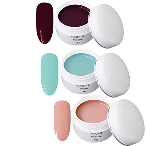 Gel UV Coloré Set W - Nail Art Set 3 x 5ml - 1x 5ml UV Colour Gel C082 Burgundy 1x 5ml UV Colour Gel C086 Caribbean 1x 5ml UV Colour Gel C088 Rose Nude