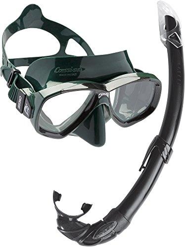 Cressi Combo Set Perla Conjunto Combinado de máscara de Buceo y Snorkel, Mar de perlas, Unisex-Adulto, Verde/Negro, Talla Única