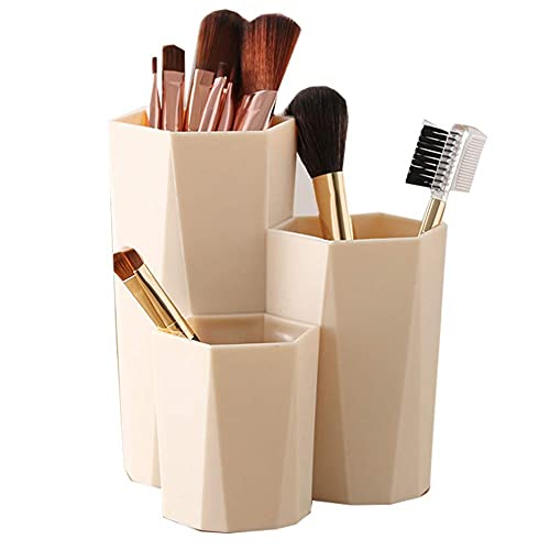 Guuisad Soporte de Cepillo de Maquillaje de joyería de plástico 3 Grid Desktop Caja de Almacenamiento Titular de la Pluma de Escritorio Pluma Organizador de lápices Dries Box (Amarillo Claro)