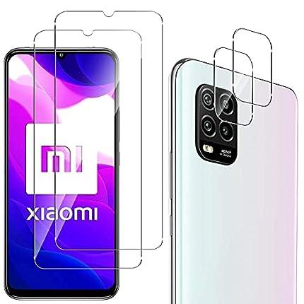 QULLOO Protector de Pantalla para Xiaomi Mi 10 Lite 5G [2 Piezas] + Protector de Lente de Cámara [2 Piezas], 9H HD Alta Sensibilidad Cristal Templado para Xiaomi Mi 10 Lite 5G