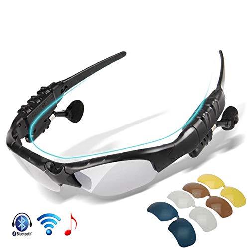 yitao Occhiali da Ciclismo Occhiali da Ciclismo polarizzati Bluetooth Men Motorcycling Occhiali da Sole MP3 Phone Bicycle Outdoor Sport Running 5 Lens Eyewear