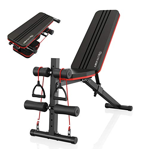 naspaluro Adjustable Weight Bench, Full All-in-One Body Workout Foldable Incline Decline Exercise Workout Bench with 7 Positions, Exercise Bench Press for Home Gym Equipment