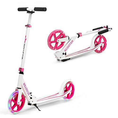DREAMADE Kickscooter mit LED-Rad, Freestyle Scooter Klappbar Höhenverstellbar, Stunt Scooter mit Rutschfestem Trittbrett, Cityroller 100 kg belastbar, Geeignet für Kinder Erwachsene (Pink)