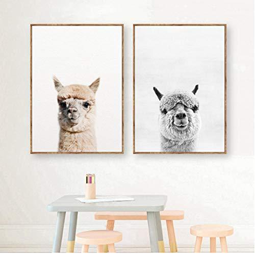 asasI9 Baby Tier Alpaka Wandkunst Leinwanddruck, Nutztiere Lama Kunst Leinwand Malerei Poster Für Kinderzimmer Kindergarten Wandkunst Dekor 40X60 cm ungerahmt