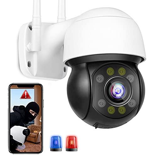 FHD 5MP Cámara PTZ Cámara IP WiFi de Vigilancia Exteriores Seguimiento Automático Alarma por Voz,Notificación de Inserción,Visión Nocturna Color Detección de Movimiento Impermeable IP66 【Cámara+64G】