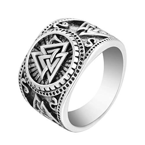 Chandler Anillo de plata envejecida con símbolo de Odin nórdico vikingo, estilo hip hop, estilo punk, joyería de fiesta, regalo de boda