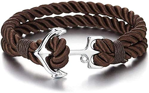 Ahuyongqing Co.,ltd Pulsera de Cuerda de algodón Trenzado marrón de Dos Filas para Hombre con Gancho de Ancla Marina (CA)