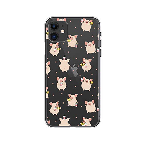 iPhone 11 (6.1 inch) Case,Blingy's Animal Style Transparent Clear Soft TPU Protective Case Compatible for iPhone 11 6.1' 2019 Release (Junk Food Pig)