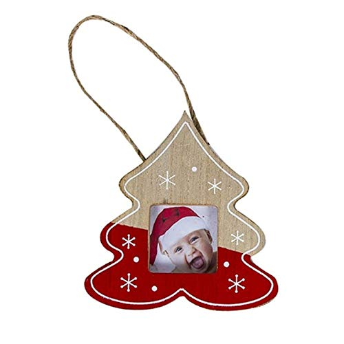 WERNG Decoraciones de Navidad DIY Marco de Fotos de Madera Colgante Decoraciones de Navidad Ree Adornos Decoraciones de Navidad para el hogar Gris Oscuro