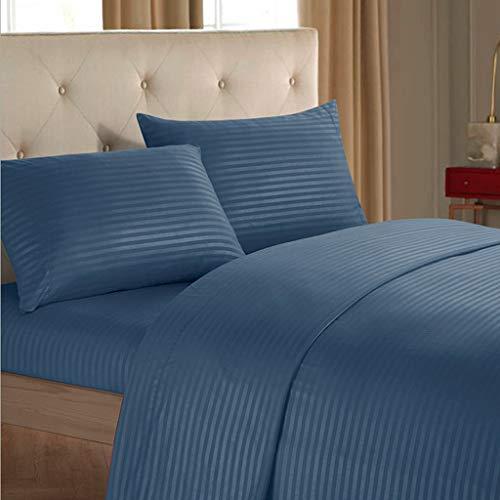 Ropa De Cama 4 Sábanas Kit - Fácil De Cuidar De Tela De Terciopelo Suave - Ropa De Cama Plana con 2 Fundas De Almohada Reina Azul