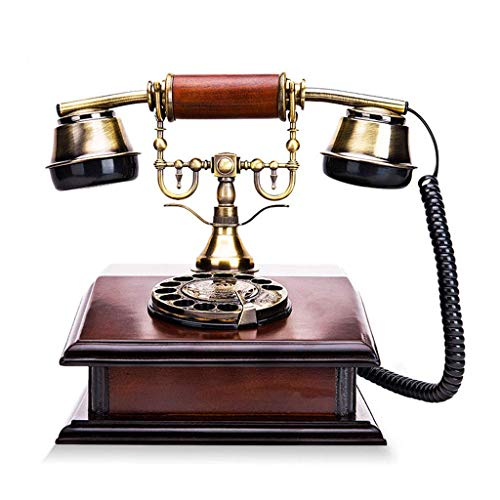 SunXue Wired European Antique Home Walkie Talkie Welcome - Telephone- Retro Wooden Rotary Dial Phone