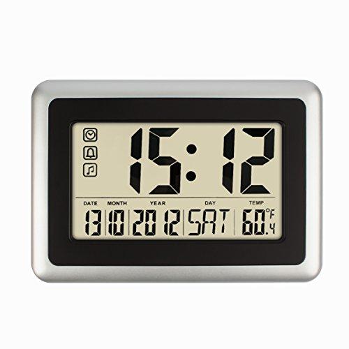 HIPPIH Alarm Clock, Electronic Full Calendar Wall Clocks, Digital Desktop Day Clock with Extra Large Digits - Perfect for Seniors, Oversized