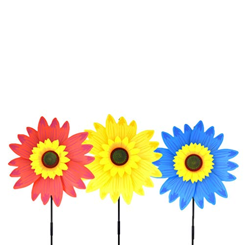 TOYANDONA Windmühle Spielzeug süße Sonnenblume Design Windmühle für Kinder 3St (Zufällige Farbe)