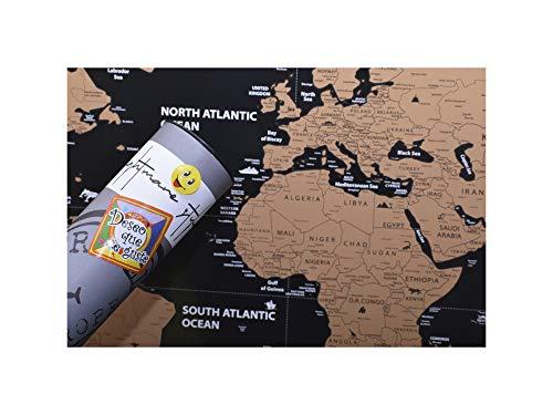 NIGHTMARE STYLE MapaMundi para Rascar con Banderas de Paises. Presentación para Regalar a Viajeros y Trotamundos. Juega y Enseña Geografía a los Niños.