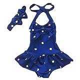 Jastore Baby Girls Swimwear One Piece Swimsuits Beach Wear with Headband (2-3T, Blue)