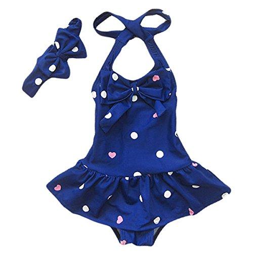 Jastore Baby Girls Swimwear One Piece Swimsuits Beach Wear with Headband (2-3 Years, Blue)