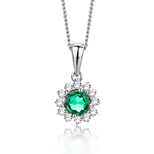 Orovi Halskette Damen Weißgold 9 Karat / 375 Gold Kette Emerald mit Rundschliff Diamant Kette 45 cm