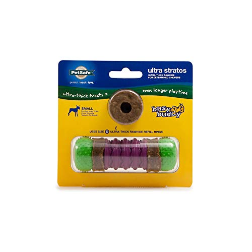 PetSafe Busy Buddy Ultra Stratos Treat Ring Dog Toy – Ultra Thick Treat Rings – Small