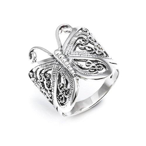 Silverly Anillo Grande de Mujer en Plata de Ley .925 Mariposa Filigrana
