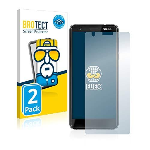 BROTECT Full-Cover Schutzfolie kompatibel mit Nokia 3.1 (2 Stück) - Full-Screen Bildschirmschutz-Folie, 3D Curved, Kristall-Klar