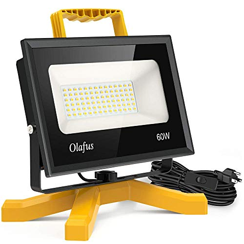 Olafus 60W LED Work Lights, 400W Equivalent, 6000LM Construction Light with Stand, IP66 Waterproof Outdoor Job Site Worklight, LED Working Lighting for Workshop, Garage, Jetty, 5000K Daylight White