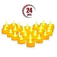 ❀【Creare Ambiente】 La fiamma ambra LED lampeggia tè luce e presenta l'effetto di una candela reale, perfetta per decorare matrimoni, feste, giardini, cortili, ponti, ristoranti, lanterne, progetti per bambini, centrotavola ecc, è anche un buon comple...