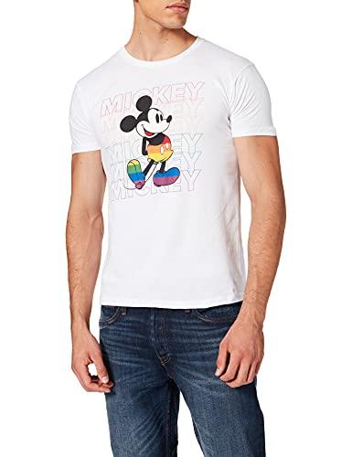 Disney MEDMICKTS125 Camiseta, Blanco, L para Hombre