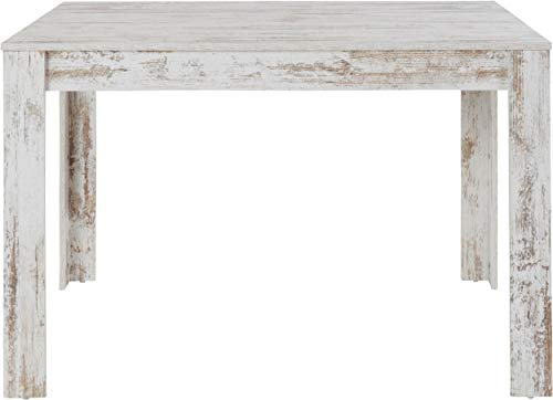 Loft24 Esstisch 120 cm weiß Esszimmertisch Landhaus Rechteckige Tischplatte Holz Küchentisch MDF Shabby Chic 120 x 80 x 75 cm (antikweiß)