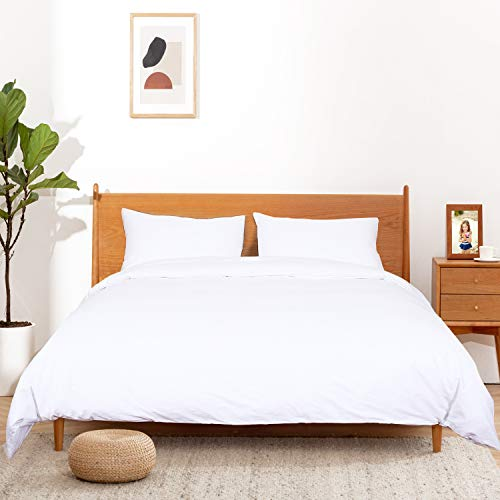ATsense Duvet Covers Queen Size 100% Natural Cotton White Duvet Cover Bedding Set 3Piece Ultra Soft and Easy Care Simple Style Farmhouse Comforter Cover Set